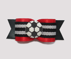 "#0952 - 5/8"" Dog Bow - Soccer, Red & Black"