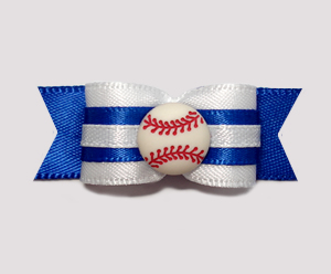 "#0953 - 5/8"" Dog Bow - Baseball, Blue & White"