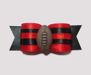 "#0955 - 5/8"" Dog Bow - Football, Red & Black"