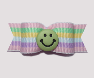 "#0956 - 5/8"" Dog Bow - Sweet Green Smiley Face, Pastel Stripes"