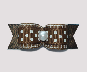"#0958 - 5/8"" Dog Bow - Cute Chocolate Brown with White Sprinkles"