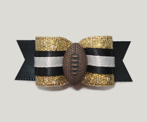 "#0960 - 5/8"" Dog Bow - Football, Black & Gold"