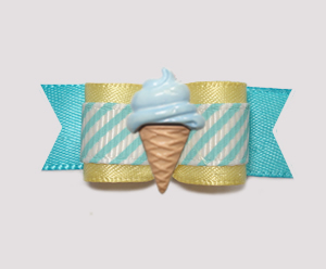 "#0963 - 5/8"" Dog Bow - Baby Yellow/Blue Stripe, Blue Ice Cream"