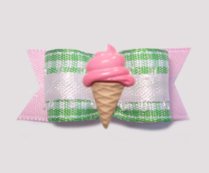 "#0964 - 5/8"" Dog Bow - Sweet Pink/Green Gingham, Pink Ice Cream"