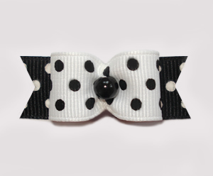 "#0967 - 5/8"" Dog Bow - Simply Chic, Black & White Dots Galore"