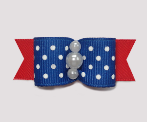 "#0968 - 5/8"" Dog Bow - Blue & White Swiss Dots w/Red, Pearls"