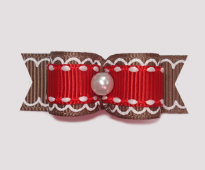 "#0969 - 5/8"" Dog Bow - Gingerbread Delight with Festive Red"