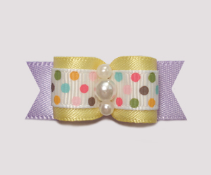 "#0971 - 5/8"" Dog Bow- Sweet Baby Yellow, Colorful Dots, Lavender"