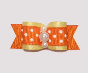 "#0973- 5/8"" Dog Bow- Sweet Baby Yellow, Orange w/Tiny White Dots"