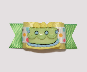 "#0980 - 5/8"" Dog Bow - Yummy Birthday Cake, Green/Yellow"