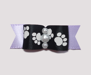"#0981- 5/8"" Dog Bow - Pawsitively Cute Paws, Black/Soft Lavender"