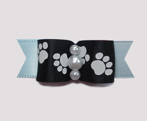 "#0983 - 5/8"" Dog Bow - Pawsitively Cute Paws, Black/Baby Blue"