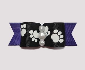 "#0986 - 5/8"" Dog Bow - Pawsitively Cute Paws, Black/Deep Purple"