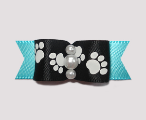 "#0988- 5/8"" Dog Bow - Pawsitively Cute Paws, Black/Electric Blue"