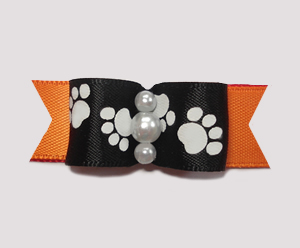 "#0989- 5/8"" Dog Bow- Pawsitively Cute Paws, Black/Vibrant Orange"