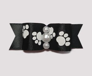 "#0992 - 5/8"" Dog Bow - Pawsitively Cute Paws, Classic Black"