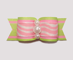 "#0997 - 5/8"" Dog Bow - Lime & Pink Squigglies, Faux Pearls"