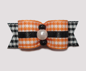"#1004 - 5/8"" Dog Bow - Sweet Orange & Black Gingham"