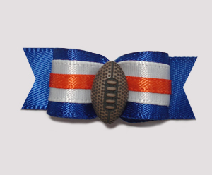"#1010 - 5/8"" Dog Bow - Football, Blue, Orange & White"