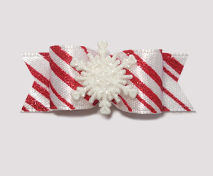 "#1016 - 5/8"" Dog Bow - Candy Cane Stripe, Winter Snowflake"