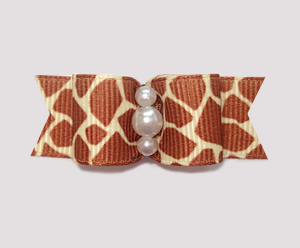 "#1019 - 5/8"" Dog Bow - Exotic Giraffe Print, Faux Pearls"