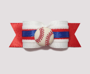 "#1023 - 5/8"" Dog Bow - Baseball, Red, White w/Blue Trim"