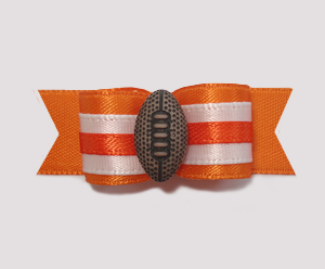 "#1025 - 5/8"" Dog Bow - Football, Orange & White"