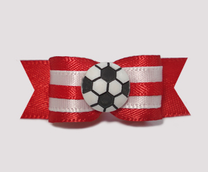 "#1026 - 5/8"" Dog Bow - Soccer, Red & White"