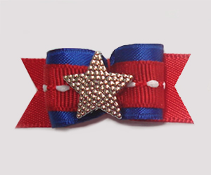 "#1029 - 5/8"" Dog Bow - Gold Star, Blue & Red"