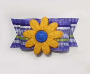 "#1038 - 5/8"" Dog Bow - Summer Fun, Purple Stripe, Yellow Flower"