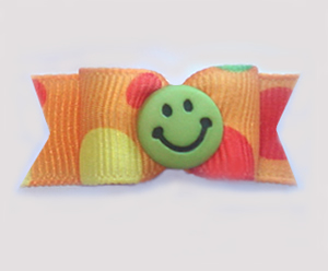 "#1089 - 5/8"" Dog Bow - Fun Green Smiley Face, Orange w/Dots"