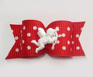 "#1095 - 5/8"" Dog Bow - Sweetheart Cupid, Red with White Dots"