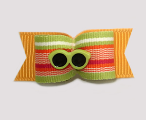 "#1105 - 5/8"" Dog Bow - Beach Fun, Lime Shades, Citrus Stripes"
