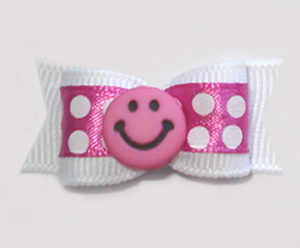 "#1119 - 5/8"" Dog Bow - Pink Smiley Face, Pink w/Bold White Dots"