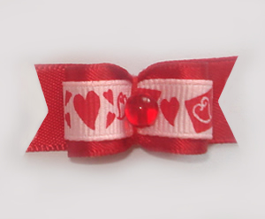 "#1193 - 5/8"" Dog Bow - Sweet Hearts Galore, Red Satin"
