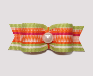 "#1248 - 5/8"" Dog Bow - Citrus Stripes, Faux Pearl"