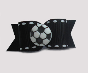 "#1270 - 5/8"" Dog Bow - Soccer, Black & White"