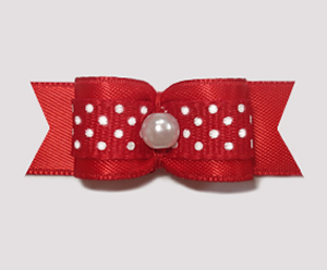"#1296 - 5/8"" Dog Bow - Classic Red Satin with White Dots, Pearl"