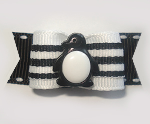 "#1302 - 5/8"" Dog Bow - Cute Penguin, Black & White Stripes"