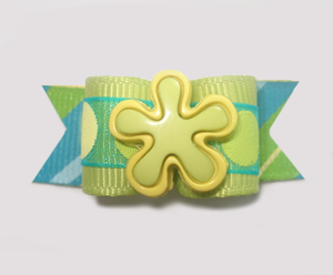 "#1306 - 5/8"" Dog Bow - Cool Flower, Lime Green & Yellow"