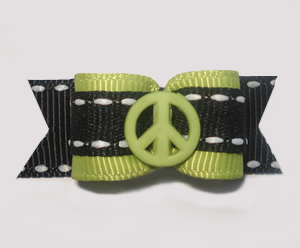 "#1308 - 5/8"" Dog Bow - Hippy Peace, Green with Black"