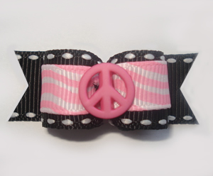 "#1310 - 5/8"" Dog Bow - Girly Peace, Pink Squiggles with Black"