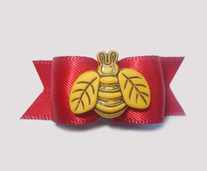 "#1311 - 5/8"" Dog Bow - ""Buzz Off"" Bee on Red Satin"