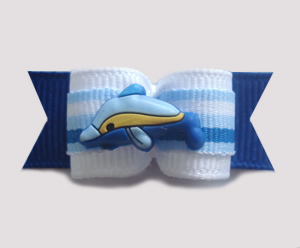 "#1315 - 5/8"" Dog Bow - Delightful Dolphin, Blue & White"
