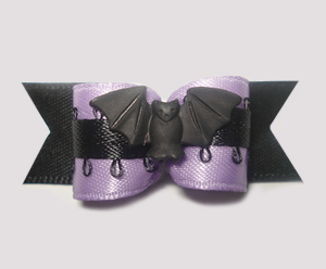 "#1318 - 5/8"" Dog Bow - Exotic Bat, Purple & Black"