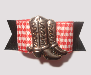 "#1322 - 5/8"" Dog Bow - Western Boot, Red & White Gingham w/Black"