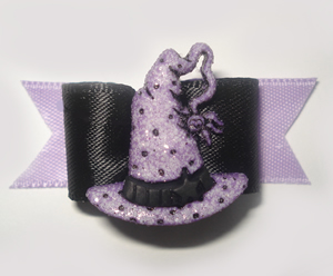 "#1323 - 5/8"" Dog Bow - Elaborate Witch's Hat, Purple & Black"