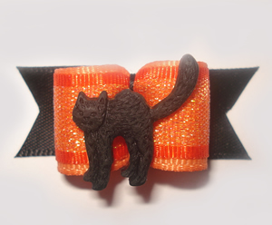 "#1325 - 5/8"" Dog Bow - Spooky Black Cat, Orange Shimmer & Black"