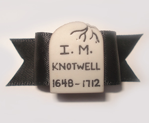 "#1326 - 5/8"" Dog Bow - Creepy ""I.M. Knotwell"" Tombstone, Black"