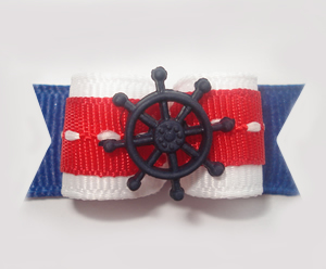 "#1333 - 5/8"" Dog Bow - Nautical, Red/White/Blue with Wheel"